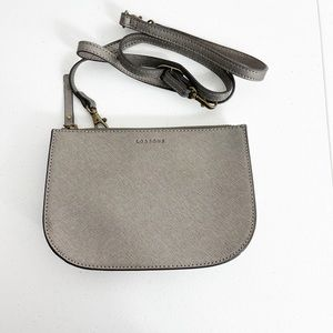 LO & SONS The Waverly 2 Saffiano 4 Way Bag Purse Large Graphite Brass NEW